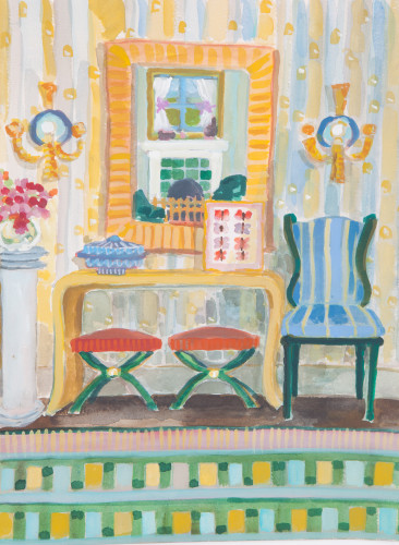 Lottie Cole, Sideboard and Two Red Stools (London Gallery)