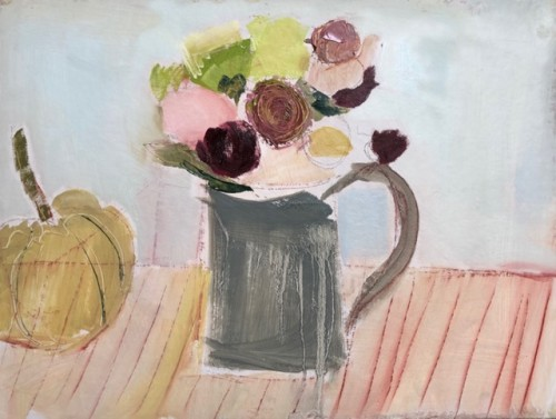 Jo Vollers, Grey Jug with Flowers (Hungerford Gallery)