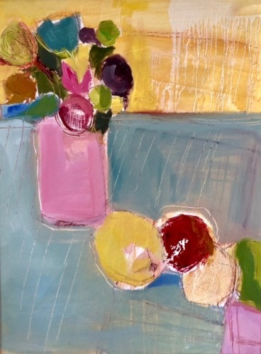 Jo Vollers, Pink Vase with Fruit (Hungerford Gallery)