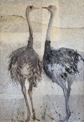 Christine Seifert, Ostriches going for a Walk (Hungerford Gallery)
