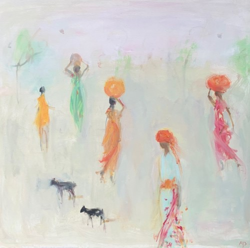 Ann Shrager, Girls in Bright Saris, a Boy and Two Goats (London Gallery)