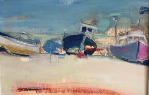 Jo Vollers, Fishing Boats on the Shore at Beer (Hungerford Gallery)