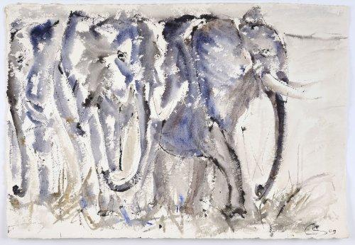 Christine Seifert, Elephant Herd (Unframed)