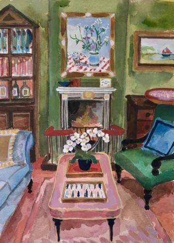 Lottie Cole, Interior with Winifred Nicholson and Backgammon (London Gallery)