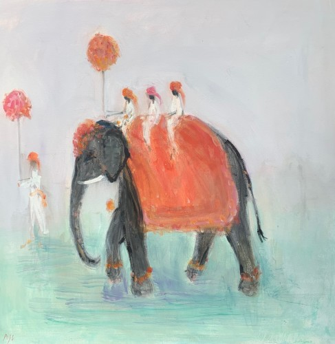 Ann Shrager, Three Men on an Elephant (London Gallery)