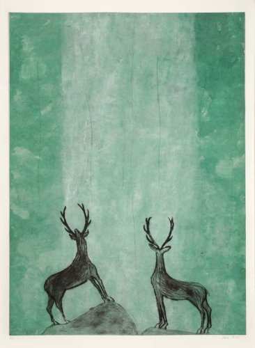 Kate Boxer, Ooooh (Stags admiring a waterfall) (Unframed)