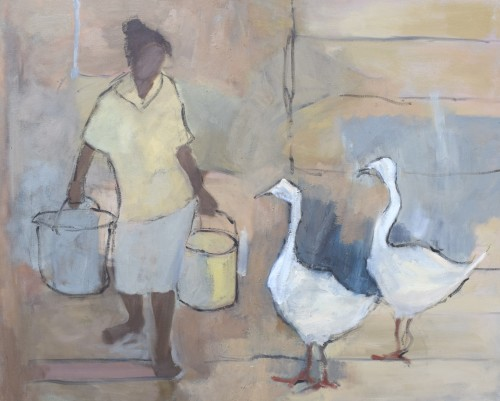 Clare Granger, Girl with Geese (Hungerford Gallery)