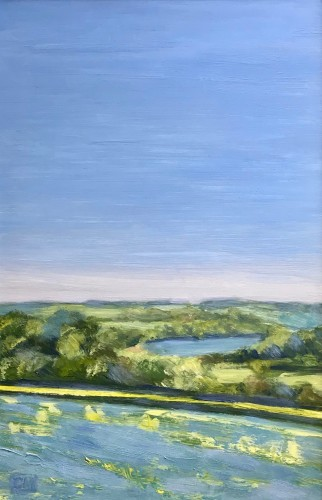 Celia Montague, Flax Fields, by Charlbury (Hungerford Gallery)