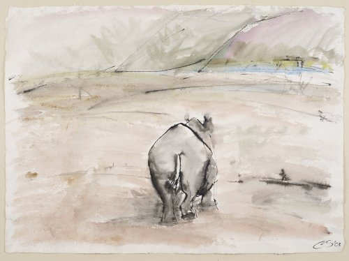 Christine Seifert, Hippo walking away (Unframed) (Hungerford Gallery)