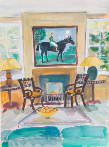 Lottie Cole, Interior with Jockey and Two Chairs (Hungerford Gallery)