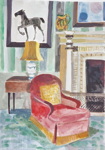 Lottie Cole, Interior with Red Armchair and Elizabeth Frink Painting (Hungerford Gallery)