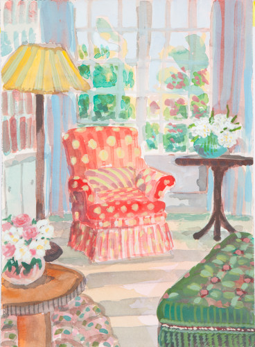 Lottie Cole, Interior with Red Spotted Chair (Hungerford Gallery)