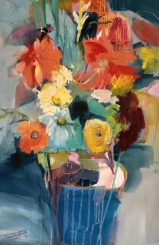 Jo Vollers, Blue Pot Flowers (London Gallery)