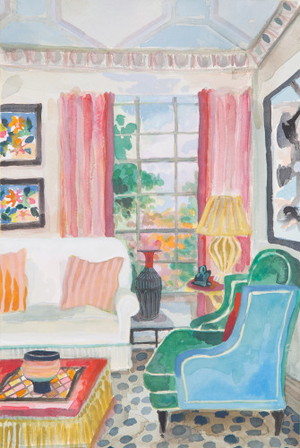 Lottie Cole, Interior with Pink Curtains and Anne Hitchcox Vase (London Gallery)
