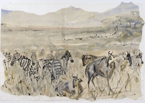 Christine Seifert, Zebra and Wildebeast (Unframed) (Hungerford Gallery)