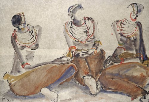 Christine Seifert, Three Rendille Seated (Hungerford Gallery)