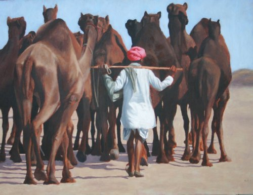 Mark Clark, Rajasthani Man with Camels (Hungerford Gallery)