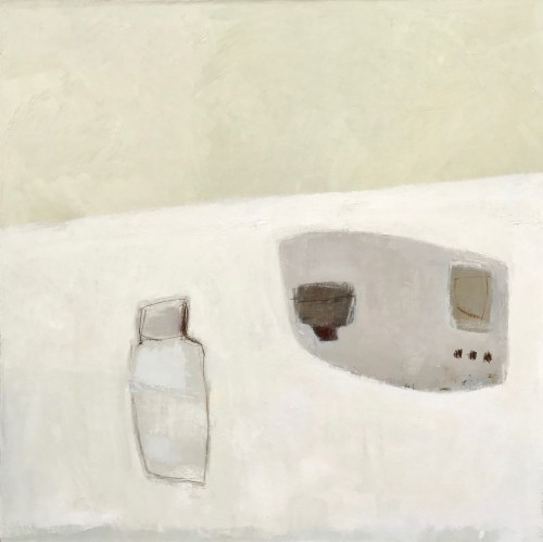 Jenny Lock, Bottle and Tray on White Tablecloth (Hungerford Gallery)