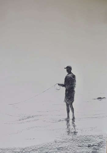 Clare Granger, Fishing at the Water's Edge (Hungerford Gallery)