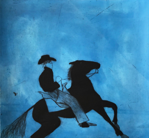 Kate Boxer, Cowboy and Horse - Blue (Mounted)