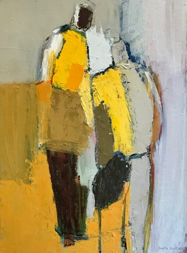 Dafila Scott, Two Figures on Yellow (London Gallery)