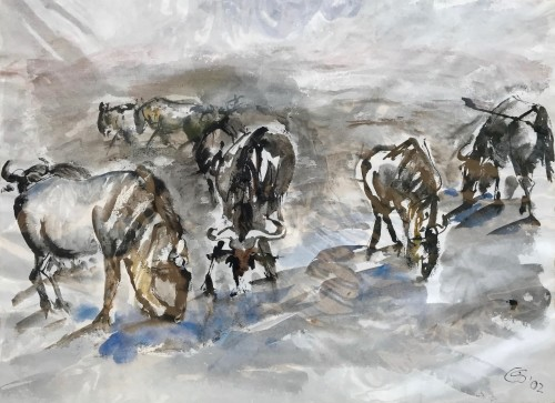 Christine Seifert, Wildebeests drinking at Waterhole (Mounted) (Hungerford Gallery)