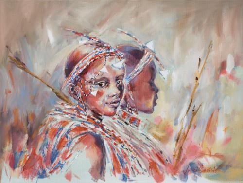 Julia Cassels, Young Maasai Girls (Hungerford Gallery)