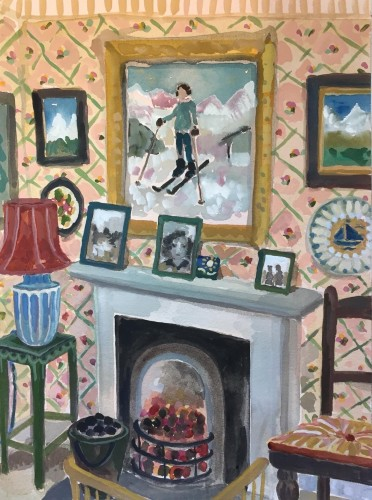 Lottie Cole, Interior with Skiing Painting