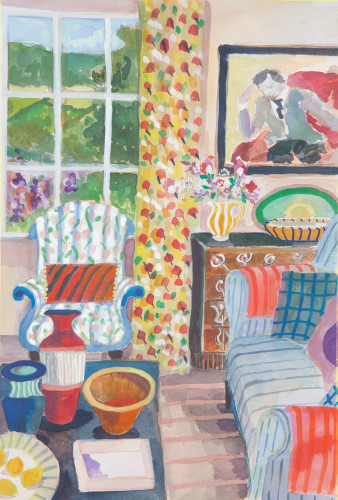 Lottie Cole, Interior with Three Vessels and Blue Striped Sofa (London Gallery)