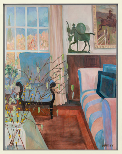 Lottie Cole, Interior with Barry Flanagan Horse with Disc and Pink Striped Sofa (London Gallery)