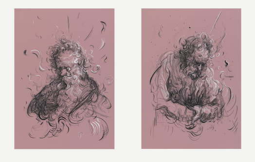 Glenn Brown, Drawing 1 and 2 (after Rembrandt), 2016