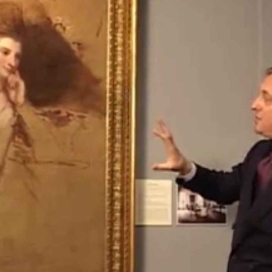 TEFAF Maastricht 2007 - Edmondo di Robilant discussing the painting 'Portrait of a Lady' by George Romney