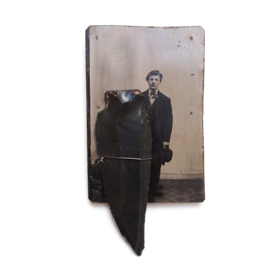Bettina Speckner Brooch, 2015 Ferrotype, Gold, Obsidian Flint 12 x 6cm