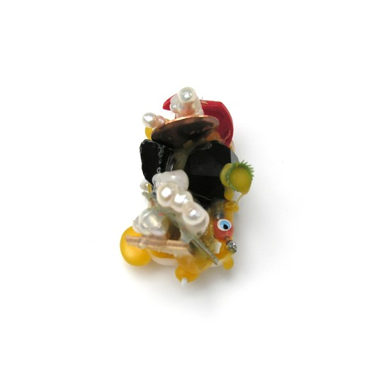 Lisa Walker Brooch, 2007 Plastic, Freshwater Pearls, Jade, Copper, Wood, Jet, Glass, Silver, Lacquer 7 x 6 x 5cm
