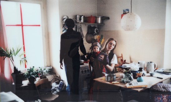 Annelies Štrba In the Kitchen, Linda and Sonia with Samuel Maria, 1995 C-Print Mounted Behind Glass 100 x 150 cm