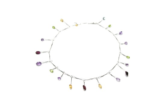 Bernhard Schobinger Edelsteinkette, 2009 Cobalt Wire, Precious Stones