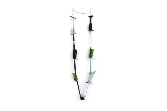 Bernhard Schobinger Flaschenhalsfragmente Okinawa II, 2013 Glass, Saw Blades, Stainless Steel