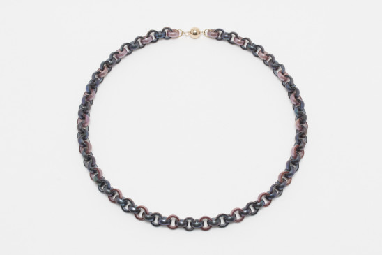 Lin Cheung, Mauve & Peacock Pearl Chain Necklace, 2019
