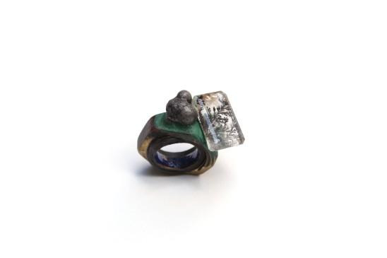 Bernhard Schobinger Gewindering, 2009 Bronze, Manganese Dendrite Quartz, Cobalt, Ruby, Black Diamond, Malachite Pigment, Enamel