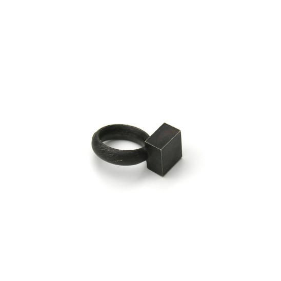 Rudolf Bott Ring, 2000 Silver With Casting Skin 25 x 35 x 15 mm Edition of 2
