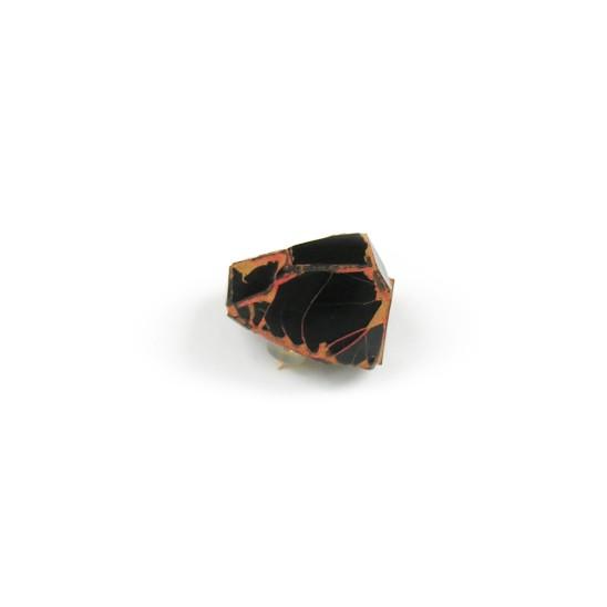Kimiaki Kageyama Urushi Brooch, 1999 300 Year Old Urushi Lacquer, Old Glass Beads, Cinnabar & Gold Pigments, Silver 2 x 2.5 x 2.5 cm