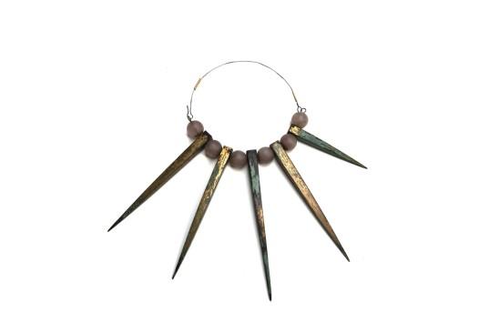 Bernhard Schobinger Blitzableiterkette, 1990 Copper (Lightening Rods), Fire Gilding, Patina, Rose Quartz, Gold, Stainless Steel
