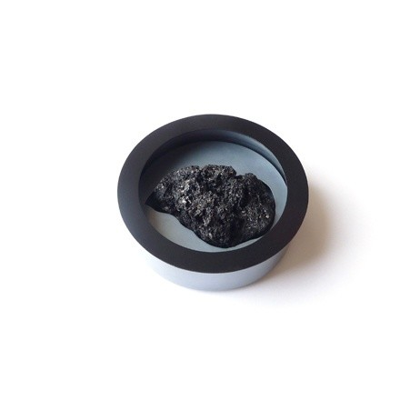 Therese Hilbert Brooch, 2012 Oxidised Silver, Lacquered Silver, Lava Stone 7 cm diam.