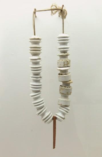 Bernhard Schobinger Vom Seegrund Getaucht, 1986 Necklace, Porcelain, clay, thread 580x100x40
