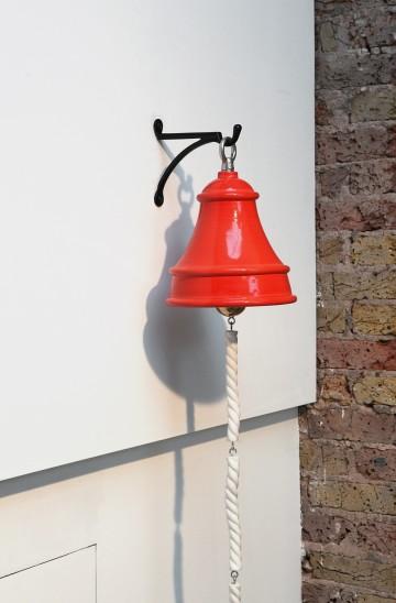 Richard Slee Fire Bell, 2016 Ceramic, metal 30 x 24 cm diam Rope - 23 x 3 x 3 cm (4 pieces)