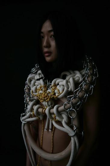 Marketa Kratochvilova Dragon Spirit, 2016 body-piece wood, zinc, cotton rope, nylon rope Photo: Karin Zadrick