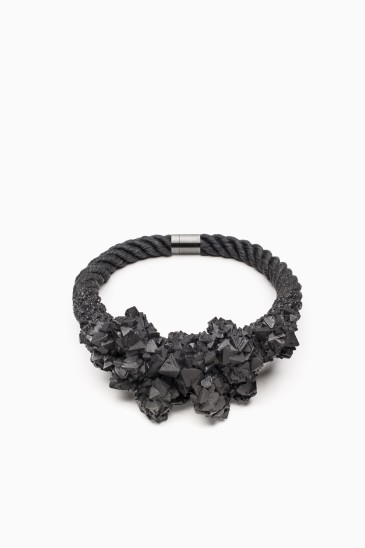 ZORYA Deamons are forever, 2011 Crystalized cluster necklace dyed linen flax rope, surgical-steel magnetic clasp, graphite-covered crystals Photo: Patrik Borecky, Tomas Brabec