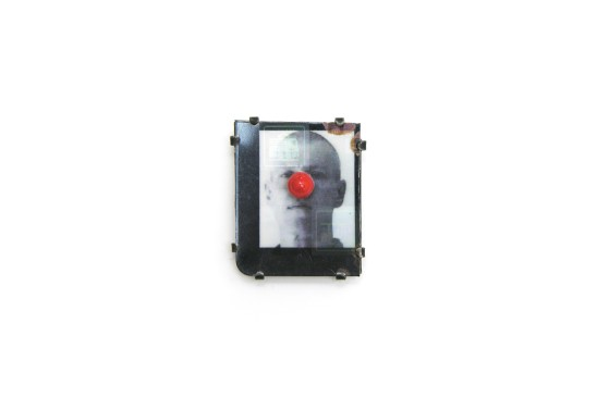 Bernhard Schobinger, Self-Portrait with Nose, 2010, Brooch, Digital photograph on commuter card, hologram, silver, coral