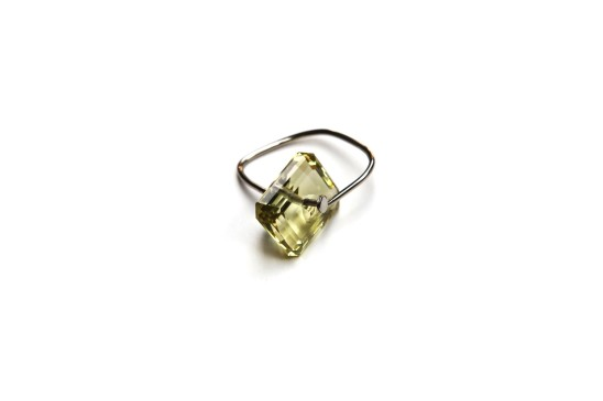 Bernhard Schobinger, Nail Ring II, 2011. Yellow Quartz, White Gold 750