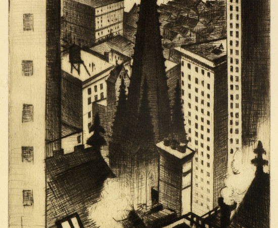 Christopher R. W. Nevinson, The Temples of New York, 1919